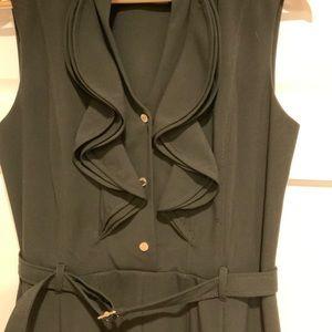 Calvin Klein ruffle belted dress black